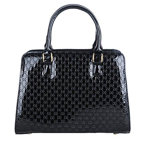 Vintage glänzende Leder Prägung Damen Handtasche Handtasche Platz Business-Handtasche mit Bären-Anhänger Wallet Black