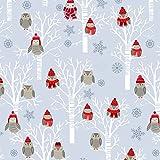 Weihnachten Stoff Eulen, woodland grau
