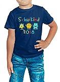 Einschulung Erstklässler 2018 Schulkind Kinder T-Shirt Schulanfang 1. Klasse Schule ABC-Schützen Geschenk Kindershirt #1, Farbe:Dunkelblau (French Navy L190k);Größe:8 Jahre (118-128 cm)