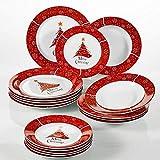 VEWEET, Serie Christmastree, Porzellan 18-teilig Tafelservice Set, Tellerset für Weihnachten Test