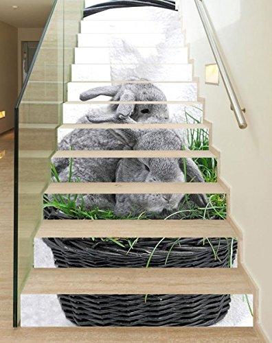 3D Treppenaufkleber Set 18cm x 100cm Hase Häschen Ostern Osterhase Korb Gras Aufkleber Treppe selbstklebend Treppenhaus Bodenaufkleber wasserdicht Flur B1T677, Anzahl Stufen:6 Stufen
