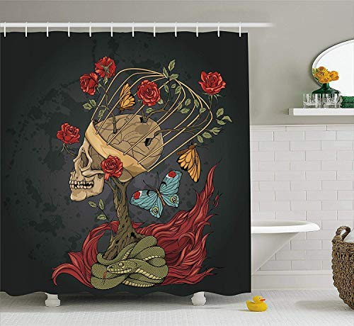 HOJJP Skull Shower Curtain, Evil Mexican Sugar Skeleton with Kitsch Bush of Roses Snake and Fly Artwork, Fabric Bathroom Decor Set with Hooks, 60W X 72L Inches Long, Ruby Dark Grey