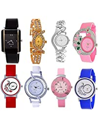 Rage Enterprise Combo Of 8 Analogue Black, Blue, Pink, White, Red, Golden Dial Girls Watches - 01RE-combo-08