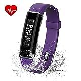 Shinmax Fitness Tracker, Activity Tracker Uhr mit Pulsmesser, IP67 Wasserdicht Smart Armband mit Schrittzähl (Purple)