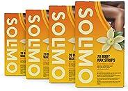 Amazon-Marke: Solimo Wachsstreifen für den Körper mit Vanille-Duft, nicht gewebtes, weiches Stoffpapier mit 4
