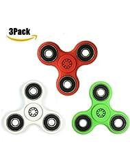 Spinner Fidget Spinner Toy Réducteur de stress Tri-Spinner Fidget Premium Hybrid Céramique Bearing Jouet EDC Focus pour le temps de Killer Soulager le stress (3Pack(Blanc + Rouge + Vert))