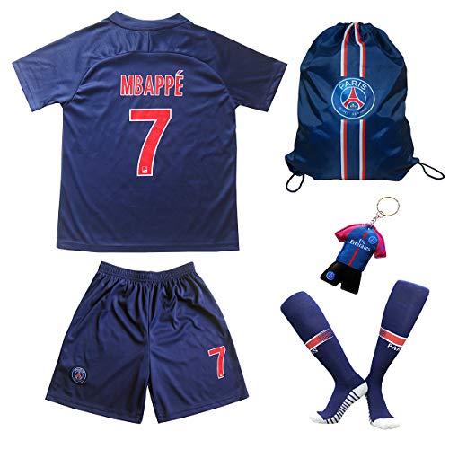 Paris Mbappe Trikot Set #7 Heim 2018/19 Kinder Fussball Trikot Mit Shorts und Socken Kinder (13-14)