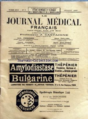 JOURNAL MEDICAL FRANCAIS (LE) [No 7] du 01/07/1933
