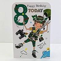 Jonny Javelin Boy Age 8 Birthday Card - Parachuting