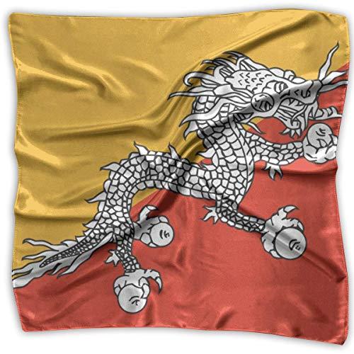 Pizeok Bhutan Flag Silky Square Scarf Halstuch Halstuch Kopfschmuck -