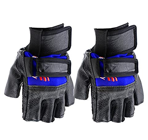 SaySure - Sports Adjustable Bike Bicycle Cycling Goat Leather Silicone Half Finger Gloves Blue - GMN-BG-SPT-000075