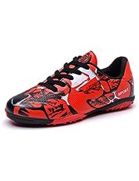 Zapatos de Futsal Unisex Niños TF Suelo Duro Ligero Zapatillas de Entrenamiento Profesional Football Shoes Hombres Chicos Azul Verde Rojo Rosa 30-42