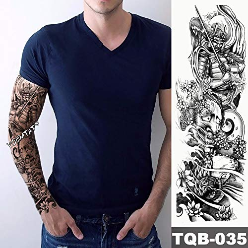 Handaxian 3pcs grande braccio manica tatuaggio maori power totem impermeabile tatuaggio adesivo guerriero samurai angelo tatuaggio tutto nero 3pcs-1