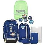 ergobag pack-Set Ranzenset 6-tlg. inkl. Regencape SchlauBär + Shiny Green