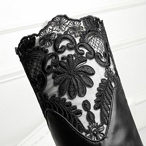 UH Femmes Bottes Chaussures à Genoux avec Lace Talons Bloc avec Plateforme et Fourrure Syhthétique Chaud pour Lhiver Noir
