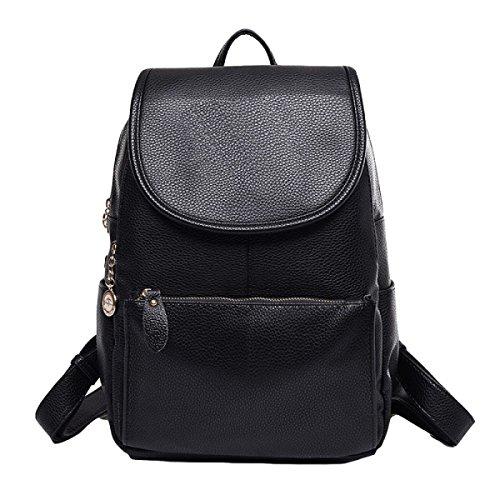 Leder-Umhängetasche Einfach Wilder Beiläufige Handtasche Der Frauen Rucksack Black