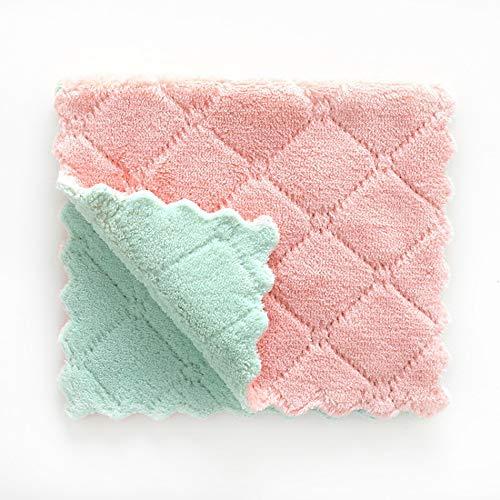 Vlook 3 stücke Lappen Reinigungstuch geschirrtücher Superfine Faser saugfähig Nicht fettig Superfine Faser weich einfach zu bedienen und sauber für Auto küche Badezimmer rosa und grün