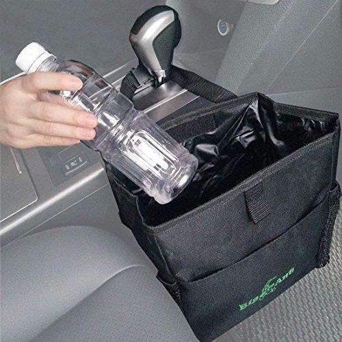 Big Ant Luxus Auto Mülleimer - Abfalleimer aus Oxford und Wasserdichtem Stoff mit Seitentasche - Kühltasche für Reise und Picknick - Zusammenklappbar - Schwarz