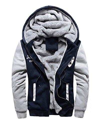 Minetom Uomo Inverno Cappuccio Cappotti Vello Foderato Giacche Cotone Felpe