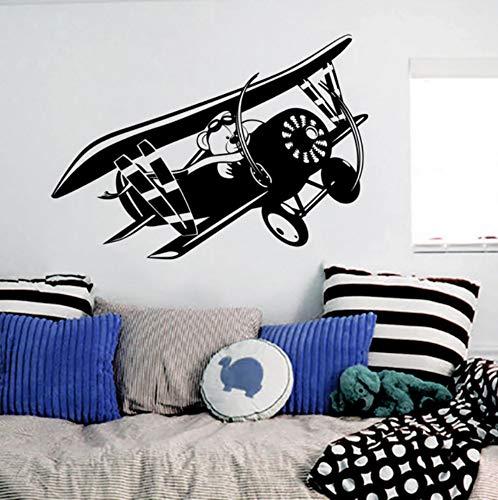 Kids Room Decoration Plane Bear Glider Fly Art Wall Sticker Vinyl Kids Boys Room Wall Decal Bear Plane Wall Art Mural 80x57cm