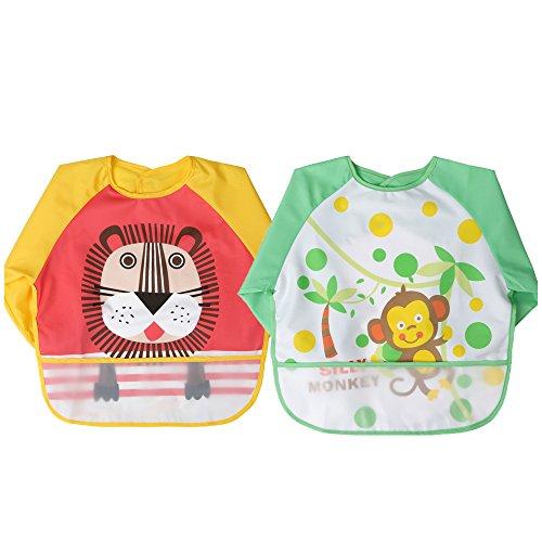 babylaza - Grembiulino impermeabile per bambini, unisex, con maniche lunghe e allacciatura sulla schiena, per dipingere, giocare e mangiare
