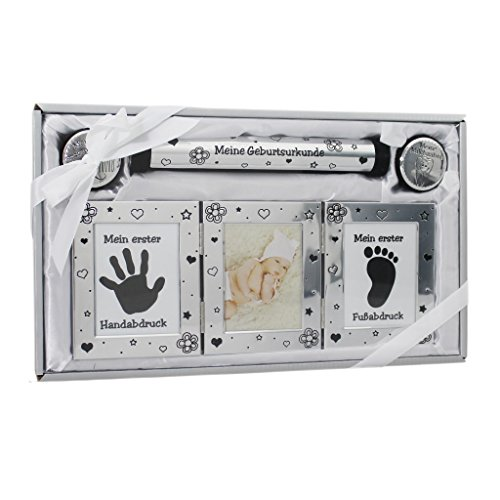 Geschenk zur Geburt und Taufe Baby Handabdruck Fussabdruck Set mit Bilderrahmen für Neugeborene