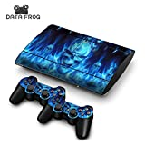 #8: Generic For Ps3 Playstation 3 Super Slim 4000 + 2 Controllers Blue Fire Skull Decal Stickers Skins Cover Case