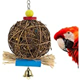Large Parrot/Bird Chewing Toy By PAMAGOO, Natural Rattan Ball Cage Toy Preening Toy For Bird Parrot African Greys Budgie Parakeet Cockatiel Lovebird Cage Toy
