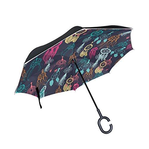 jstel doble capa diseño étnico Tribal con Atrapasueños y plumas paraguas coches Reverse resistente al viento lluvia paraguas para coche al aire libre con asa en forma de C
