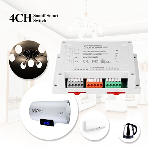ONEVER 4CH 4 Gang Way Sonoff Smart-Fernbedienung Wireless-Switch-Modul Modified Smart Home L?sung mit dem Timing f¨¹r iOS Android 3500W AC 90-250V