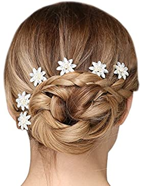 Brautschmuck mit Kunstperlen und Blumenmotiv, Haarnadeln für die Hochzeit in Silber