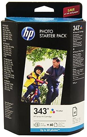 HP N°343 Series Photo Starter Pack Cartouche d'encre d'origine / Kit Papier