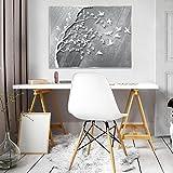 DekoShop Glasbild Echtglas Glasfoto Wandbild Silber Baum mit Vögeln AMDGT10231G5 G5 (80cm. x 60cm.) Real Glass