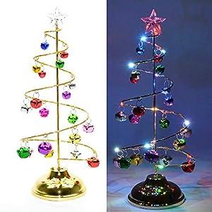 Shatchi 11842-SPIRAL-TREE-BELL-13IN - Campana de árbol de Navidad con luces LED para decoración del hogar (33 cm), diseño de árbol de Navidad, multicolor