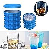 Ice Cube Maker Eiswürfelform mit Eisbehälter Silion Eiseimer mit Deckel Platzsparende Eiswürfelbereiter Eiswürfel GefäßKühler, Saving Ice Cube Maker Eiswürfelbereiter für Bier, Whisky (1 Stück)