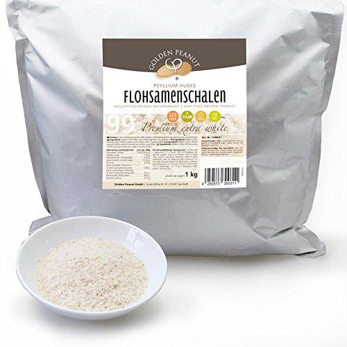Flohsamenschalen 99 prozentige Reinheit, Extra Weiß, Premium Qualität, höhste Quellzahl, getestet, allergenfrei, Glutenfrei, Vegan, keimreduziert. Low-Carb, 1000 g, 1 kg