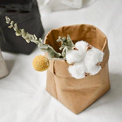 Wokee respetuosa con el medio ambiente lavable papel Kraft bolsa de papel hogar bolsa de almacenamiento multifunción de planta flores macetas reutilización medium marrón
