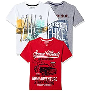 Cherokee by Unlimited Boys' Plain Regular Fit T-Shirt (Pack of 3)(Colors & Print May Vary)