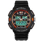 Daesar Reloj de Doble Pantalla Relojes Electronicos Relojes Niños Reloj Adolescente Reloj Deporte al Aire Libre Reloj Hombre Moda Reloj Impermeable Reloj Deportivo Naranja