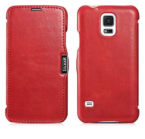 ICARER Luxus Tasche für Samsung Galaxy S5 und S5 Neo/Case Außenseite aus Echt-Leder/Innenseite aus Textil/Modell: Luxury/Schutz-Hülle seitlich aufklappbar/ultra-slim Cover/Vintage Look/Farbe: Rot