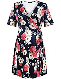 Molliya Women's Wrap Front Maternity Dress Short Sleeve Floral Dresses with Adjustable Side Tie