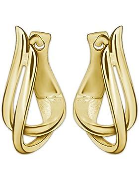 CLEVER SCHMUCK Goldene Creolen ovale Form 15 x 10 mm 2-fach geschwungene Bögen elegant verdreht und hochglänzend...
