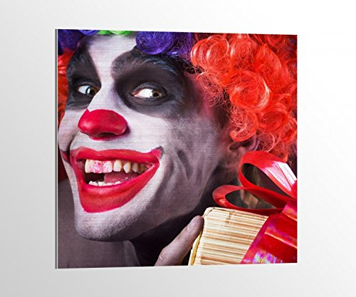 Alu-Dibond Horror Clown Maske gruselig Gesicht Bild auf Aluminium AluDibond UV Druck gebürstet Wandbild Metall Effekt 16A2010, Alu-Dibond 1:100x100cm