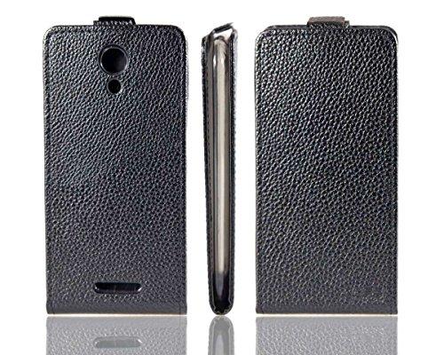 caseroxx Hülle/Tasche Flip Cover schwarz + Bildschirmschutzfolie für Doogee Nova Y100X, Set bestehend aus Flip Cover & Bildschirmschutzfolie