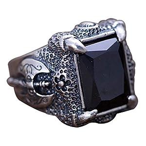 FORFOX Herren Vintage Schwarz 925 Sterling Silber Drachenklaue Achat Ring Onyx Schmuck