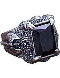 9cbc479e9715 FORFOX Anillo de Garra de dragón con ónix Negra Natural de Plata de Ley 925  Vintage