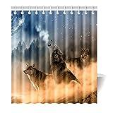 Violetpos Duschvorhang Mysterious Wolf Hochwertige Qualität Badezimmer 180 x 180 cm