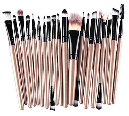 Bigood 20PCS Pinceaux de Maquillage Professionnels Ensemble Pinceaux pour Visage Sourcil