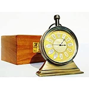 DEGO Tischuhr Marineblau Messing antik Vintage Nautical in seinem Holzbox