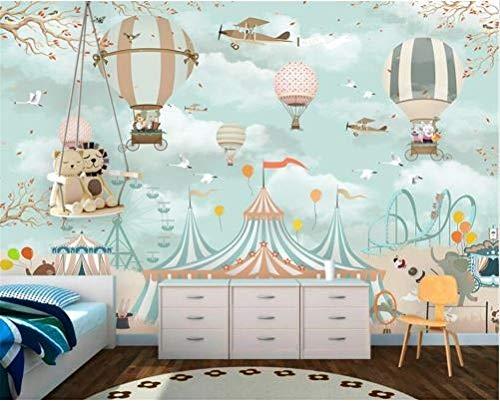HUANG YA HUI Wallpaper Fototapeten Große Tapete-Karikatur-Heißluft-Ballon-Flugzeug-Tier-Welpen-Zirkus-Spielplatz-Hintergrund-Wand Der Tapete 3D Tapete Wandbild
